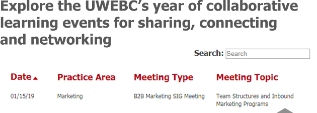 Plan your year with the UWEBC